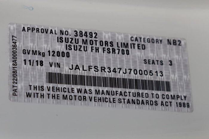 2018 ISUZU FSR 120/260 null null WHITE