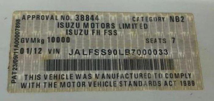 2012 ISUZU FSS550 4X4 & HIAB null null White