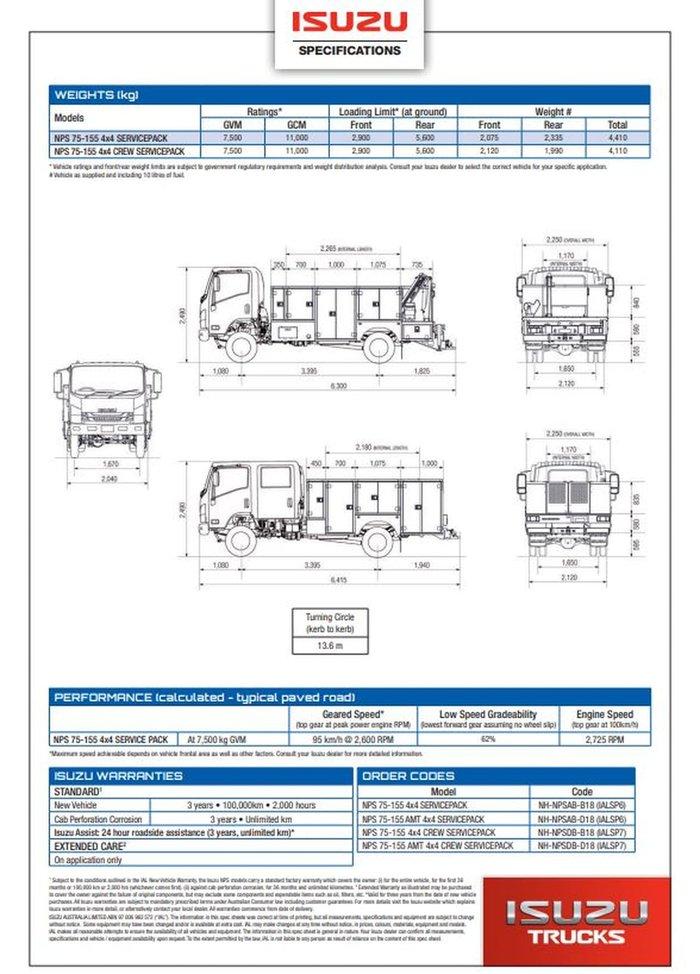 2021 ISUZU NPS 75/45-155 4X4 AMT CREW SERVICEPACK WHITE