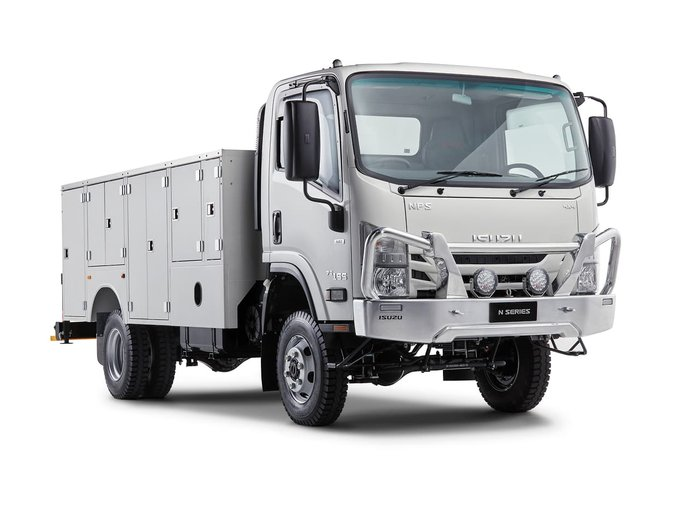 2020 Isuzu NPS 4X4 SERVICE TRUCK WITH CRANE White